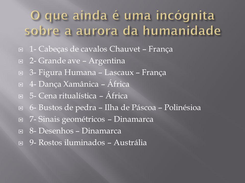 1- Cabeças de cavalos Chauvet – França 2- Grande ave – Argentina 3- Figura Humana – Lascaux – França 4- Dança Xamânica – África 5- Cena ritualística –