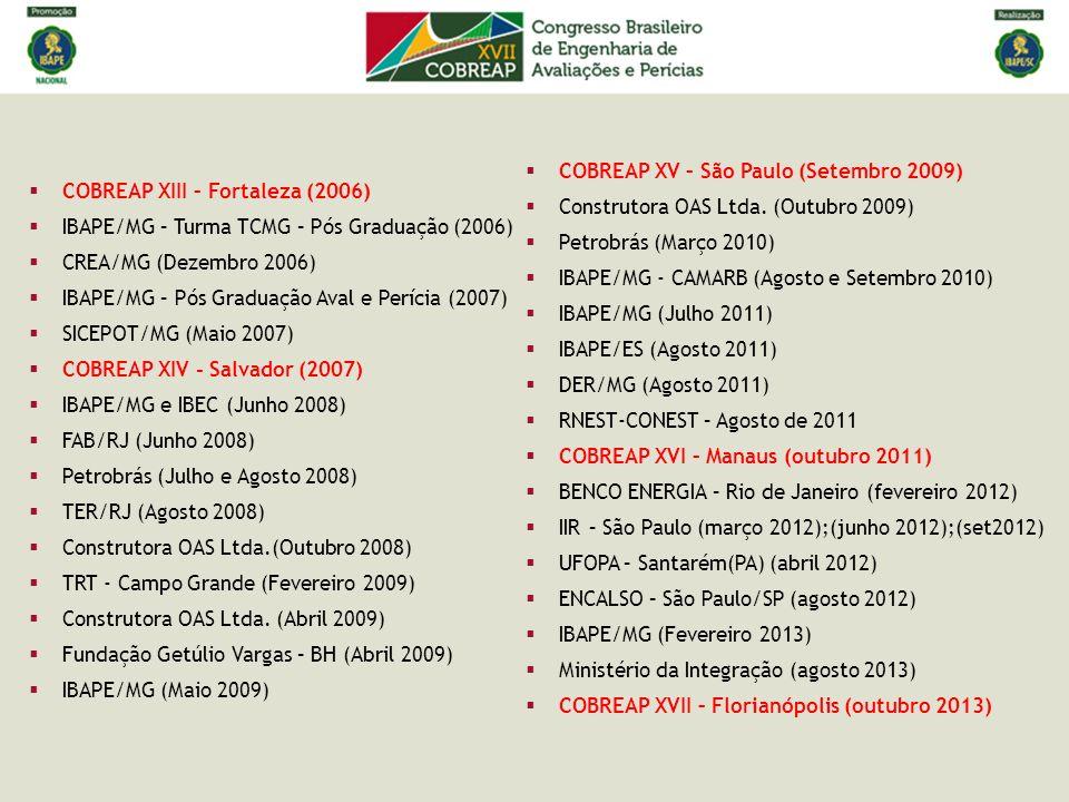 COBREAP XIII – Fortaleza (2006) IBAPE/MG – Turma TCMG – Pós Graduação (2006) CREA/MG (Dezembro 2006) IBAPE/MG – Pós Graduação Aval e Perícia (2007) SI