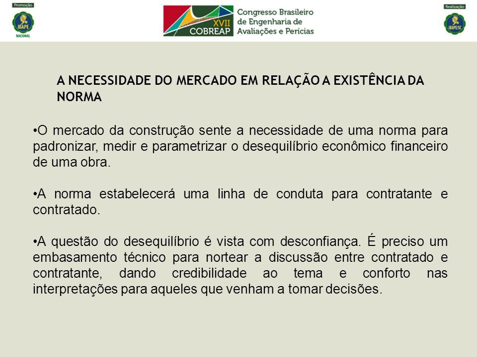 A NECESSIDADE DO MERCADO EM RELAÇÃO A EXISTÊNCIA DA NORMA O material bibliográfico existente no Brasil não traz uma abordagem dos cenários previsto e realizado, muito menos padroniza a apresentação e quantificação do desequilíbrio.