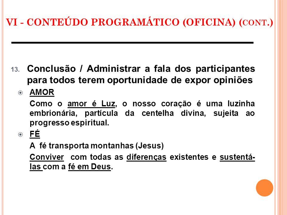 VI - CONTEÚDO PROGRAMÁTICO (OFICINA) ( CONT.) 13. Conclusão / Administrar a fala dos participantes para todos terem oportunidade de expor opiniões AMO