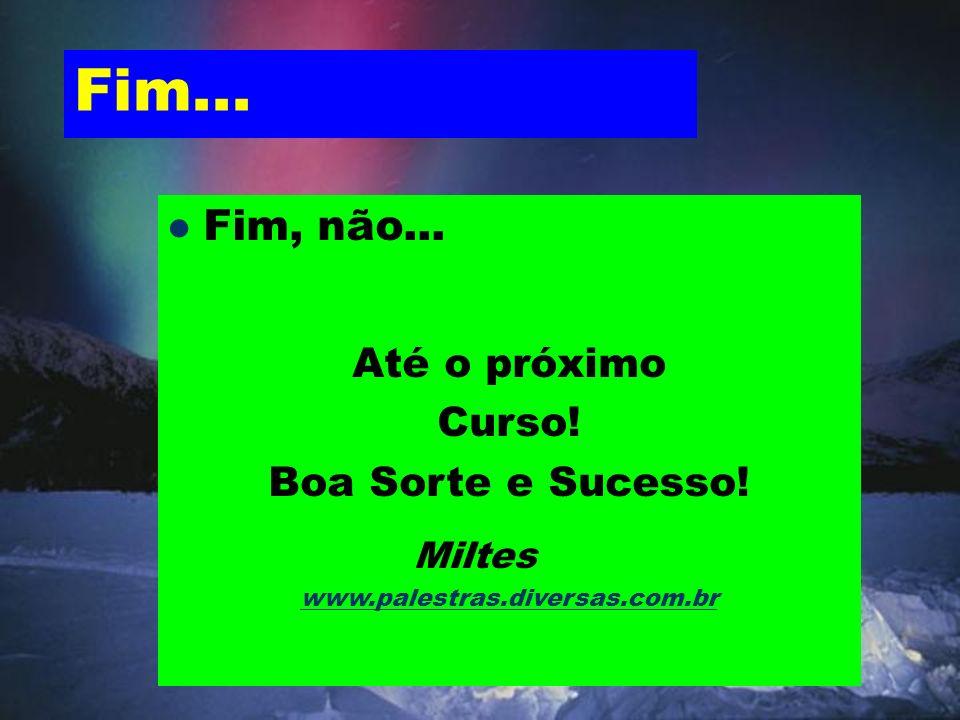 Fim... Fim, não... Até o próximo Curso! Boa Sorte e Sucesso! Miltes www.palestras.diversas.com.br
