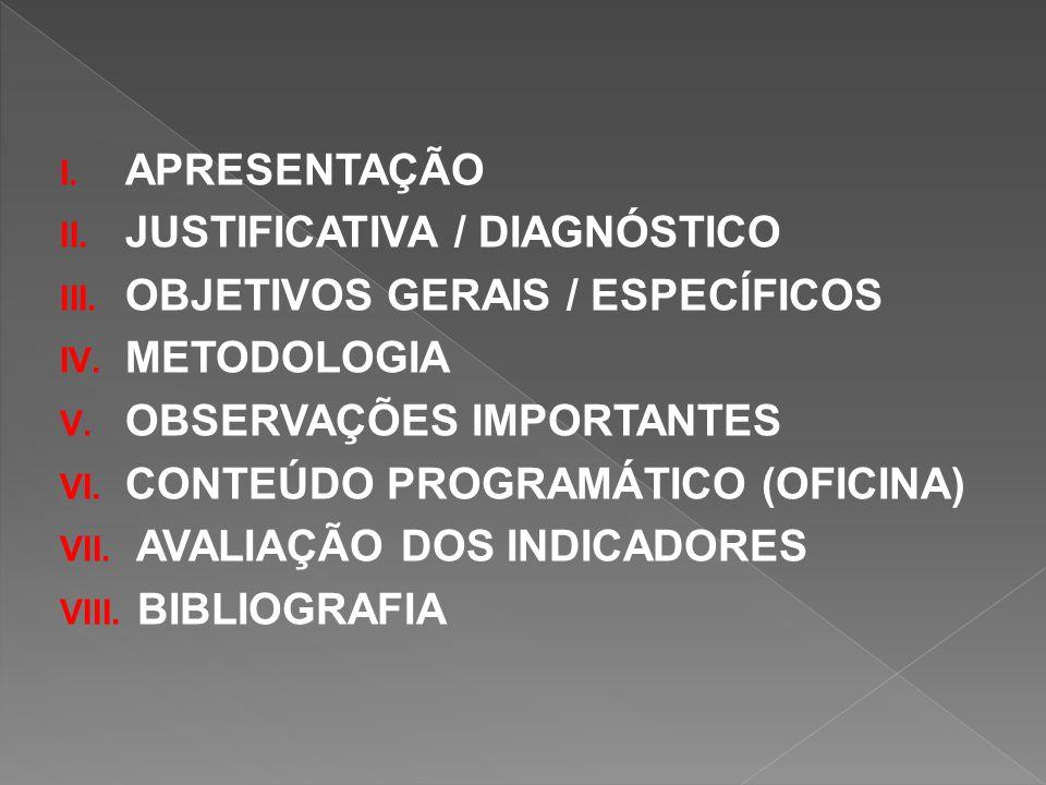 I. APRESENTAÇÃO II. JUSTIFICATIVA / DIAGNÓSTICO III. OBJETIVOS GERAIS / ESPECÍFICOS IV. METODOLOGIA V. OBSERVAÇÕES IMPORTANTES VI. CONTEÚDO PROGRAMÁTI