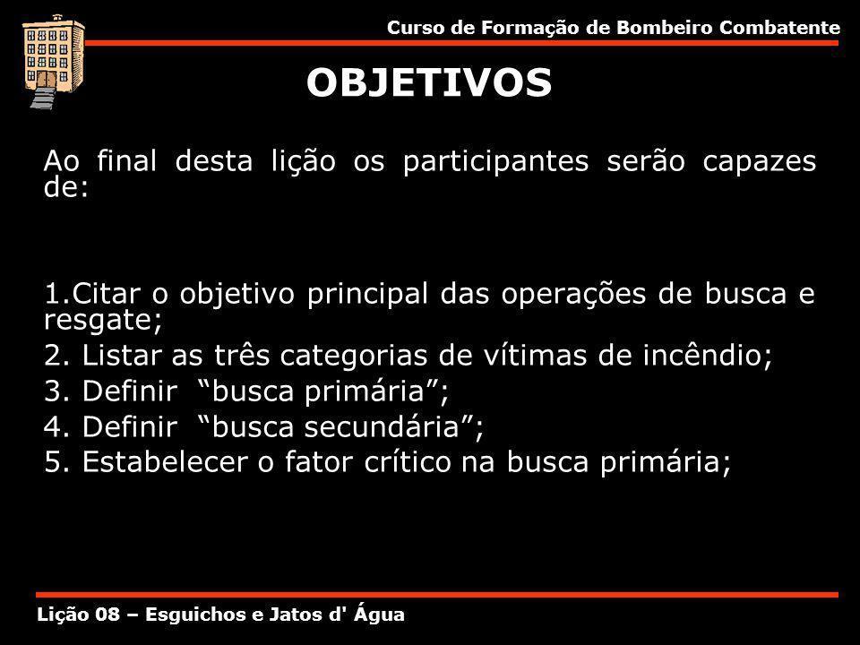 Curso de Formação de Bombeiro Combatente Lição 08 – Esguichos e Jatos d' Água OBJETIVOS Ao final desta lição os participantes serão capazes de: 1.Cita