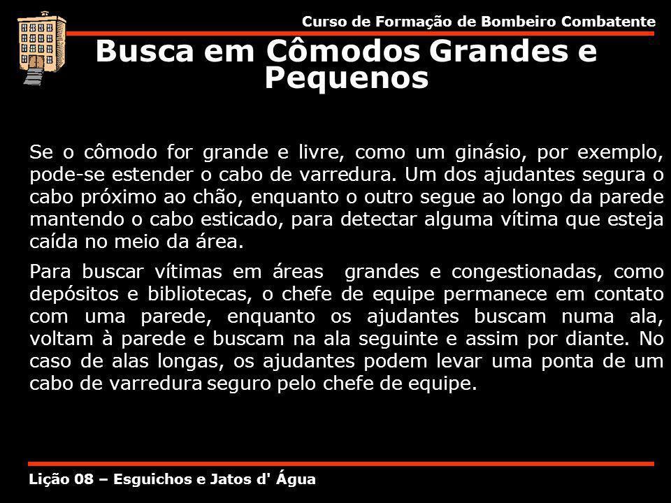 Curso de Formação de Bombeiro Combatente Lição 08 – Esguichos e Jatos d' Água Se o cômodo for grande e livre, como um ginásio, por exemplo, pode-se es
