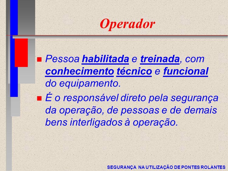 SEGURANÇA NA UTILIZAÇÃO DE PONTES ROLANTES Operador n Pessoa habilitada e treinada, com conhecimento técnico e funcional do equipamento. n É o respons