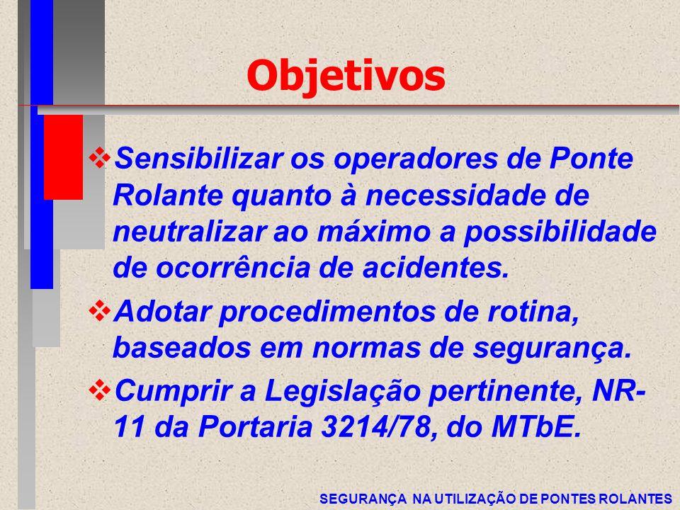 SEGURANÇA NA UTILIZAÇÃO DE PONTES ROLANTES Objetivos Sensibilizar os operadores de Ponte Rolante quanto à necessidade de neutralizar ao máximo a possi