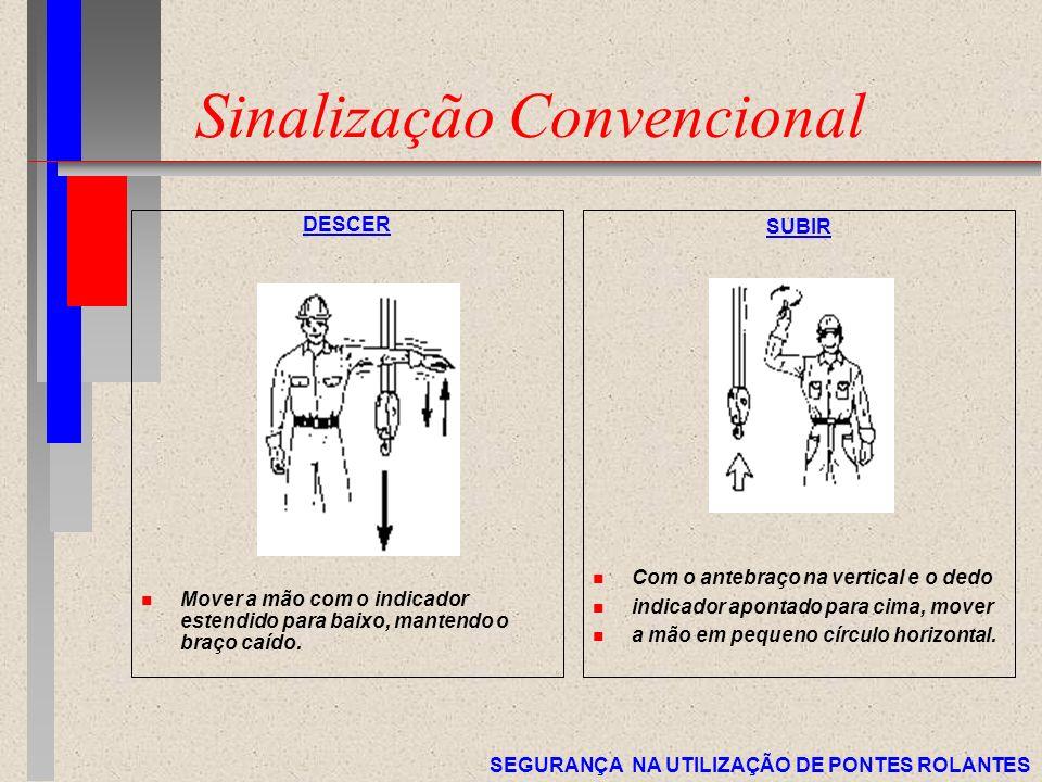 SEGURANÇA NA UTILIZAÇÃO DE PONTES ROLANTES Sinalização Convencional DESCER n Mover a mão com o indicador estendido para baixo, mantendo o braço caído.