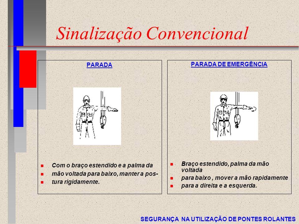 SEGURANÇA NA UTILIZAÇÃO DE PONTES ROLANTES Sinalização Convencional PARADA n Com o braço estendido e a palma da n mão voltada para baixo, manter a pos