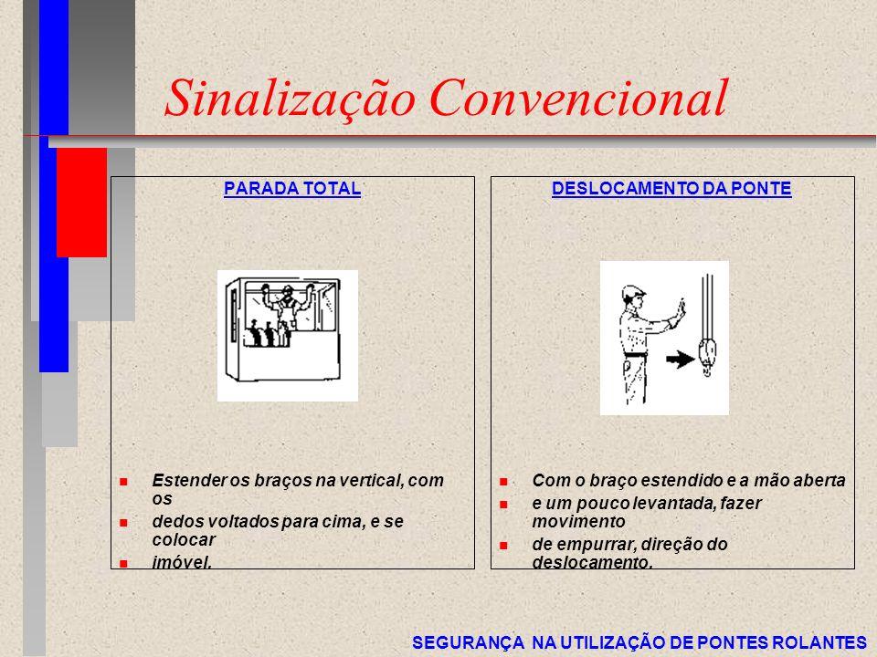SEGURANÇA NA UTILIZAÇÃO DE PONTES ROLANTES Sinalização Convencional PARADA TOTAL n Estender os braços na vertical, com os n dedos voltados para cima,
