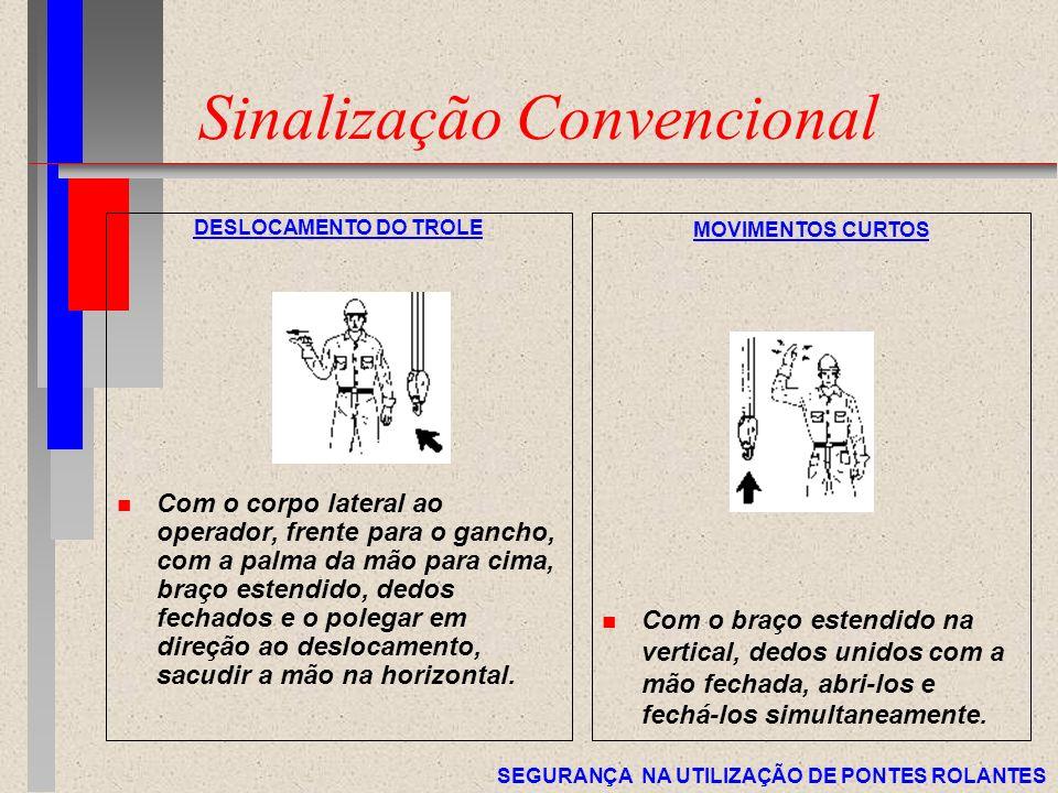 SEGURANÇA NA UTILIZAÇÃO DE PONTES ROLANTES Sinalização Convencional DESLOCAMENTO DO TROLE n Com o corpo lateral ao operador, frente para o gancho, com