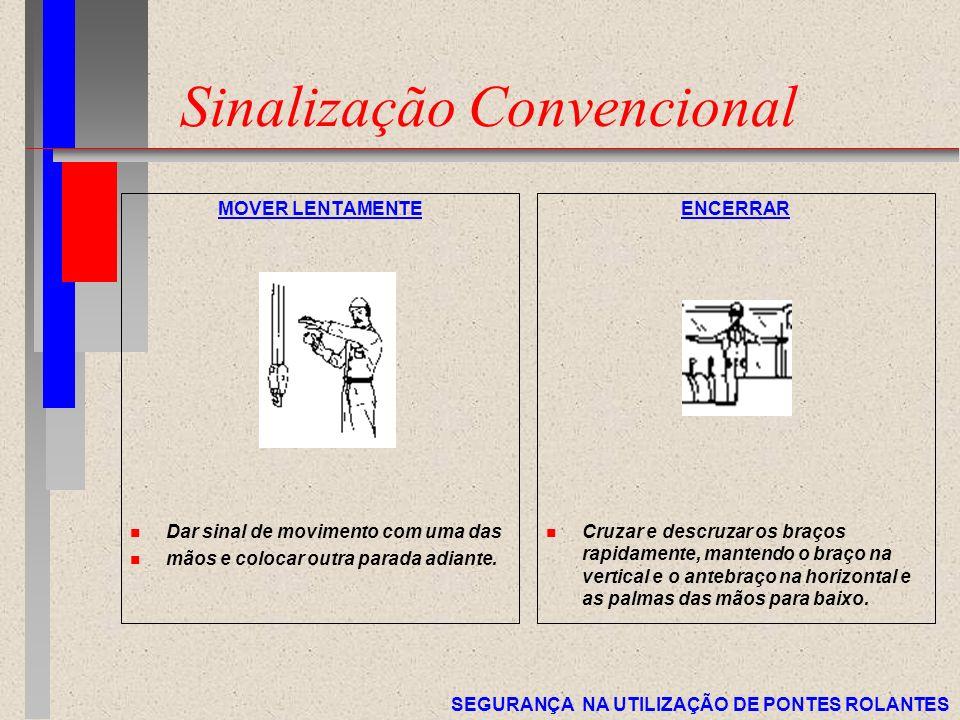 SEGURANÇA NA UTILIZAÇÃO DE PONTES ROLANTES Sinalização Convencional MOVER LENTAMENTE n Dar sinal de movimento com uma das n mãos e colocar outra parad