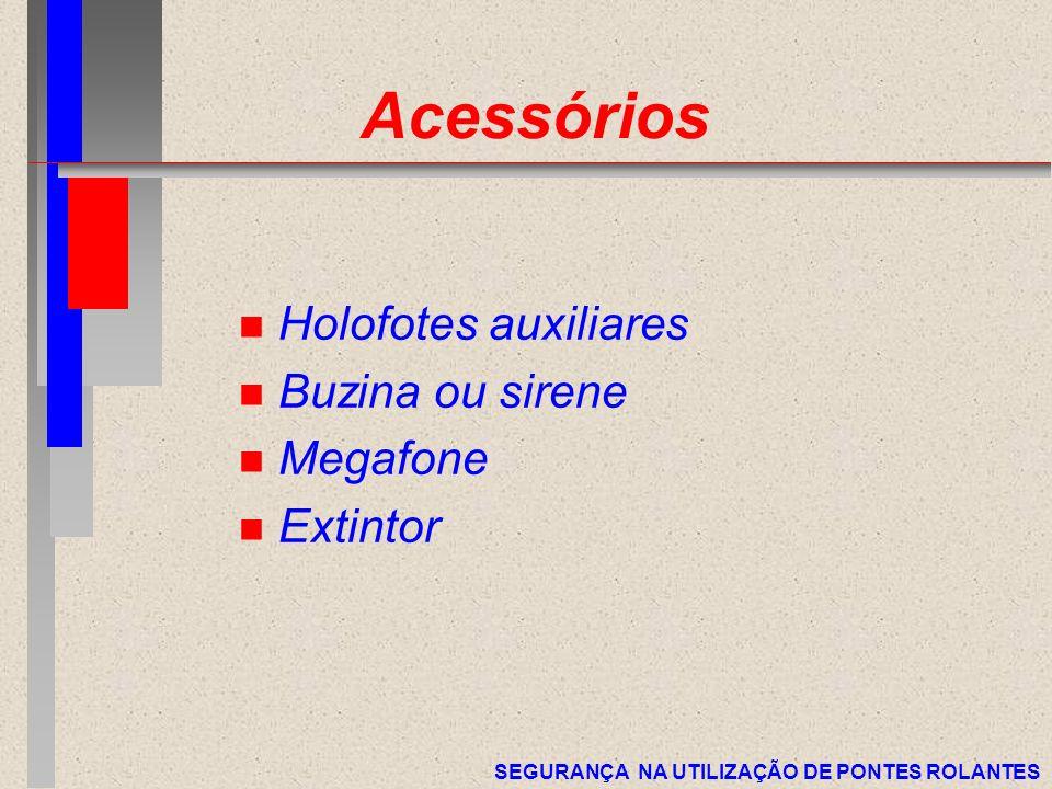 SEGURANÇA NA UTILIZAÇÃO DE PONTES ROLANTES Acessórios n Holofotes auxiliares n Buzina ou sirene n Megafone n Extintor