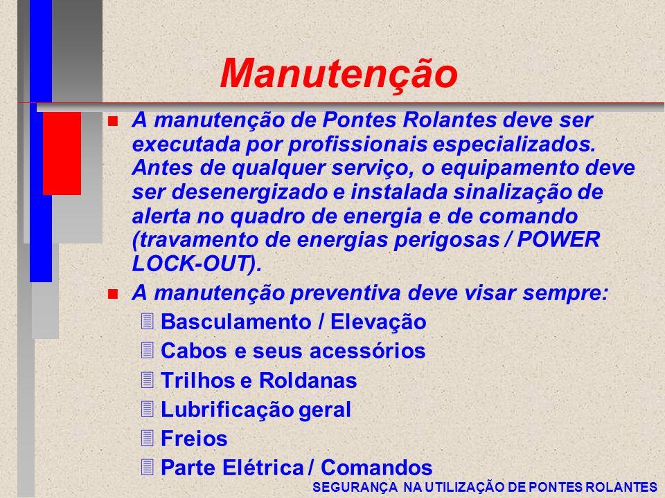SEGURANÇA NA UTILIZAÇÃO DE PONTES ROLANTES Manutenção n A manutenção de Pontes Rolantes deve ser executada por profissionais especializados. Antes de