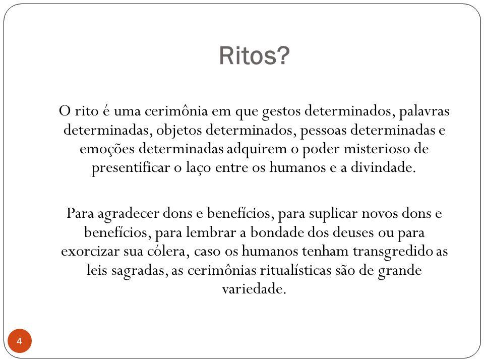 Ritos? O rito é uma cerimônia em que gestos determinados, palavras determinadas, objetos determinados, pessoas determinadas e emoções determinadas adq