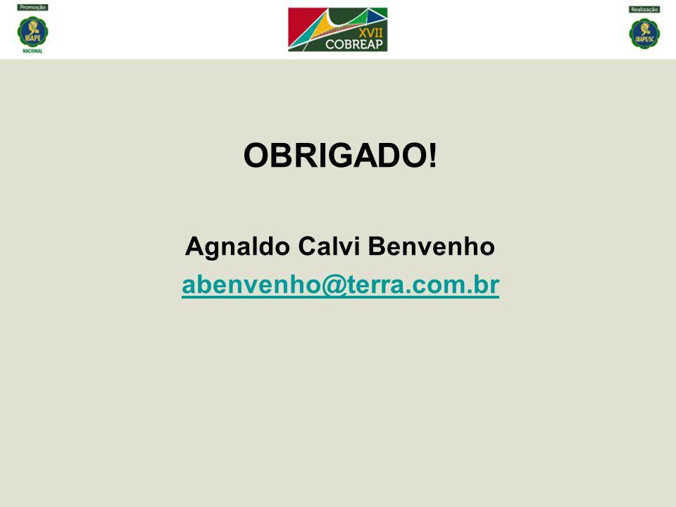 OBRIGADO! Agnaldo Calvi Benvenho abenvenho@terra.com.br