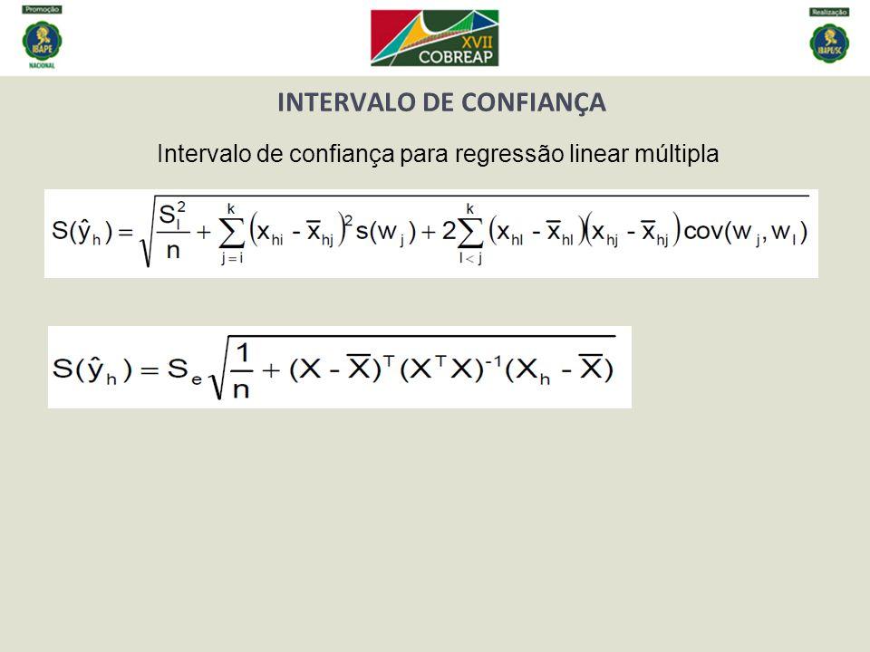 INTERVALO DE CONFIANÇA Intervalo de confiança para regressão linear múltipla