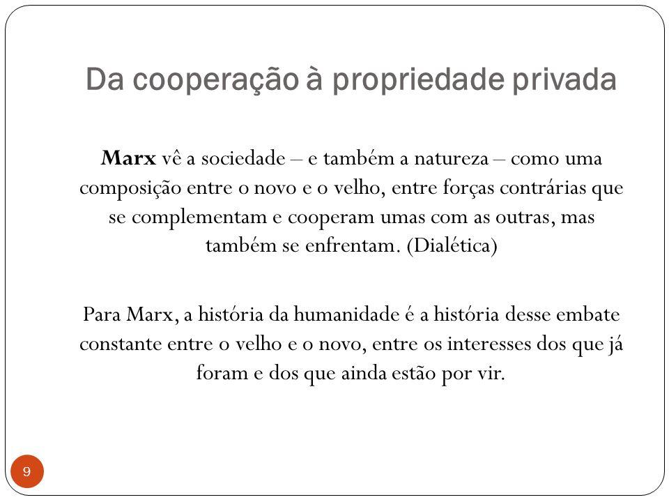 Da cooperação à propriedade privada 9 Marx vê a sociedade – e também a natureza – como uma composição entre o novo e o velho, entre forças contrárias que se complementam e cooperam umas com as outras, mas também se enfrentam.