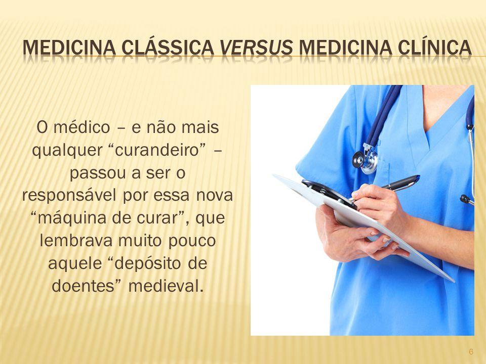 Se a medicina clássica trabalhava com o conceito vago de saúde e procurava eliminar a doença, a medicina clínica passou a ter como foco o corpo do doente e como objetivo trazer esse corpo de volta ao normal.