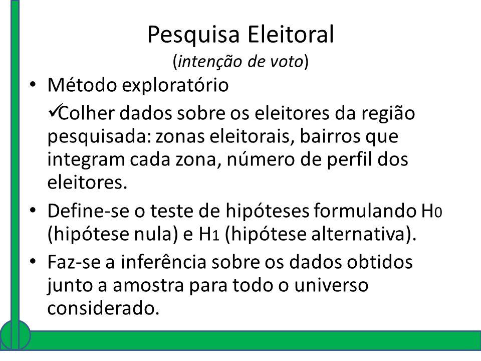 Pesquisa Eleitoral (intenção de voto) Método exploratório Colher dados sobre os eleitores da região pesquisada: zonas eleitorais, bairros que integram