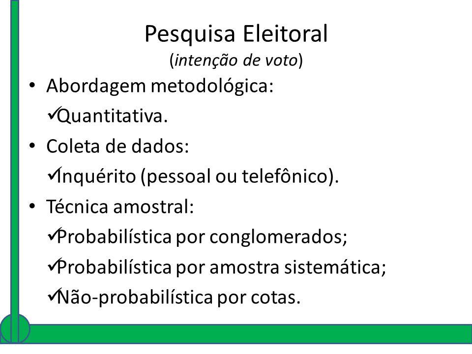 Pesquisa Eleitoral (intenção de voto) Abordagem metodológica: Quantitativa. Coleta de dados: Inquérito (pessoal ou telefônico). Técnica amostral: Prob