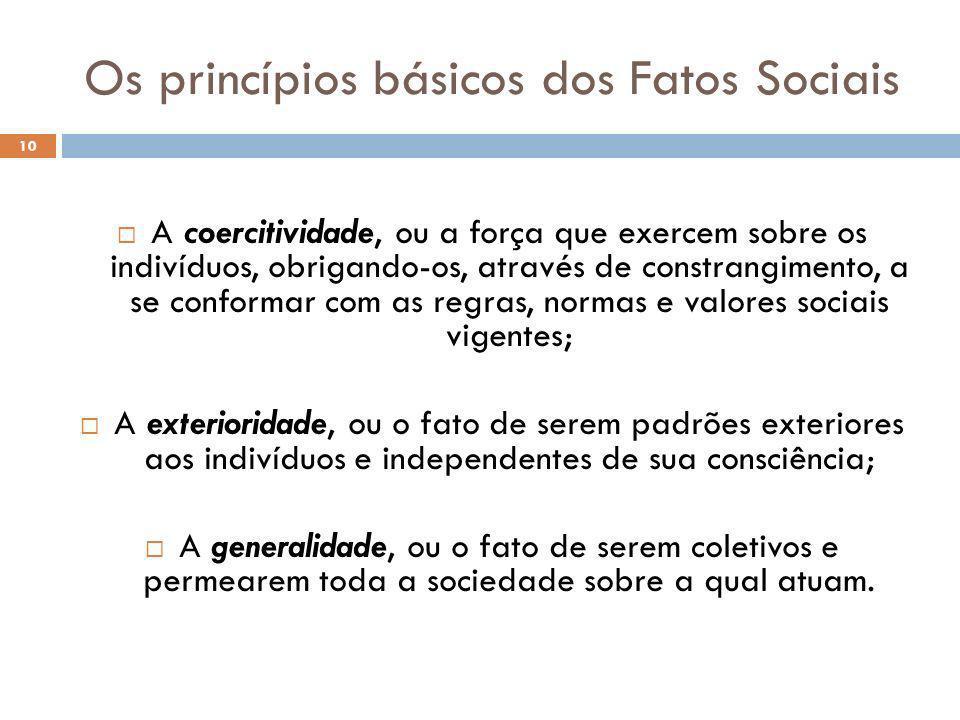 Os princípios básicos dos Fatos Sociais 10 A coercitividade, ou a força que exercem sobre os indivíduos, obrigando-os, através de constrangimento, a s