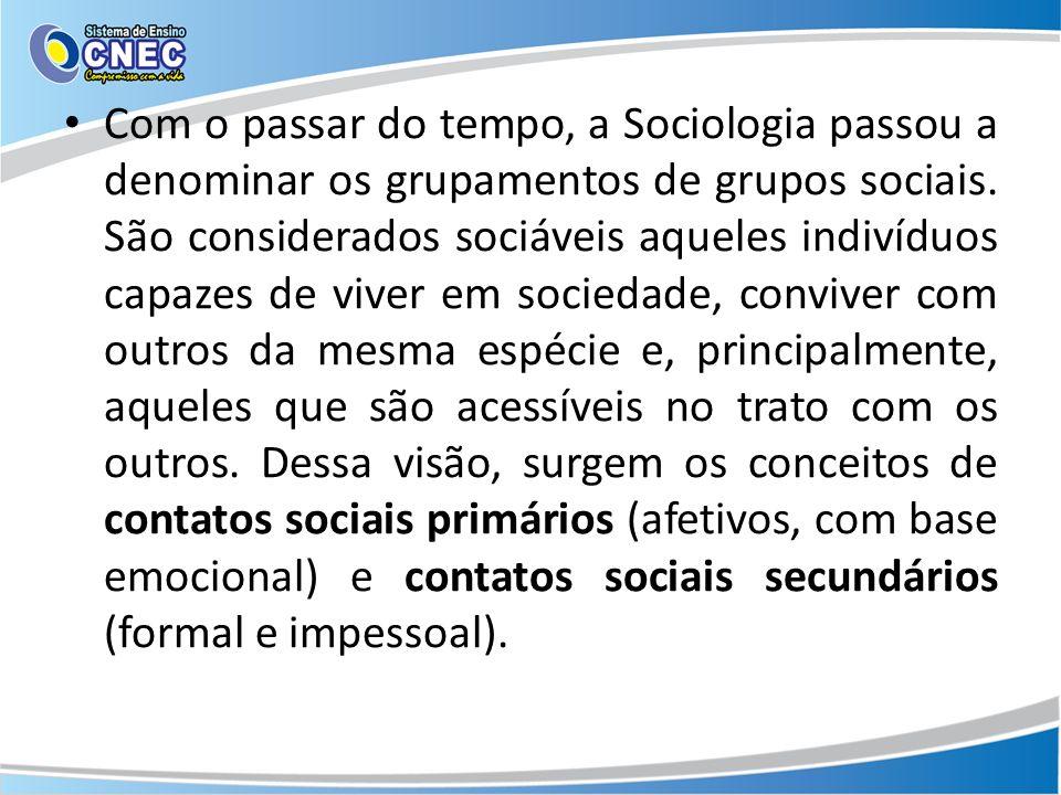 Com o passar do tempo, a Sociologia passou a denominar os grupamentos de grupos sociais.