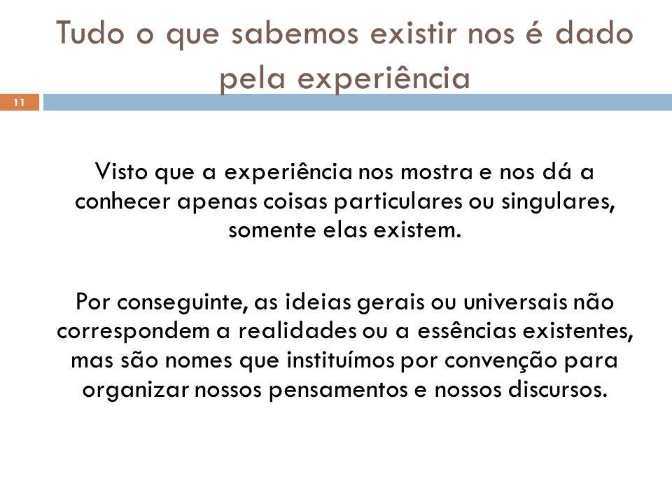Tudo o que sabemos existir nos é dado pela experiência 11 Visto que a experiência nos mostra e nos dá a conhecer apenas coisas particulares ou singula