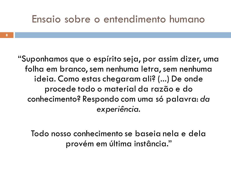 Ensaio sobre o entendimento humano 8 Suponhamos que o espírito seja, por assim dizer, uma folha em branco, sem nenhuma letra, sem nenhuma ideia. Como