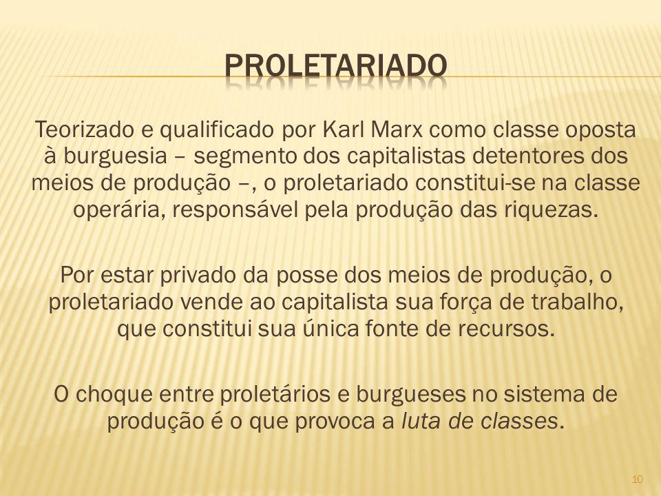 Teorizado e qualificado por Karl Marx como classe oposta à burguesia – segmento dos capitalistas detentores dos meios de produção –, o proletariado co