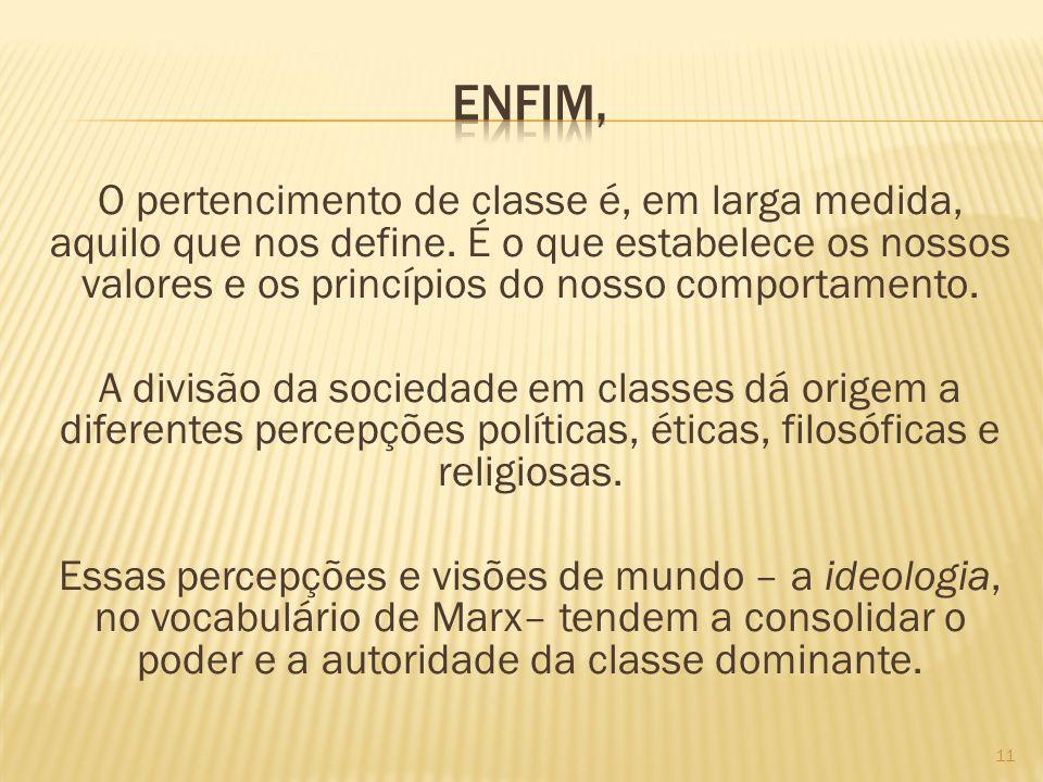 O pertencimento de classe é, em larga medida, aquilo que nos define. É o que estabelece os nossos valores e os princípios do nosso comportamento. A di
