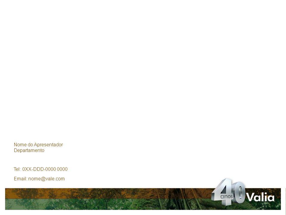 Nome do Apresentador Departamento Tel: 0XX-DDD-0000 0000 Email: nome@vale.com Muito obrigado!
