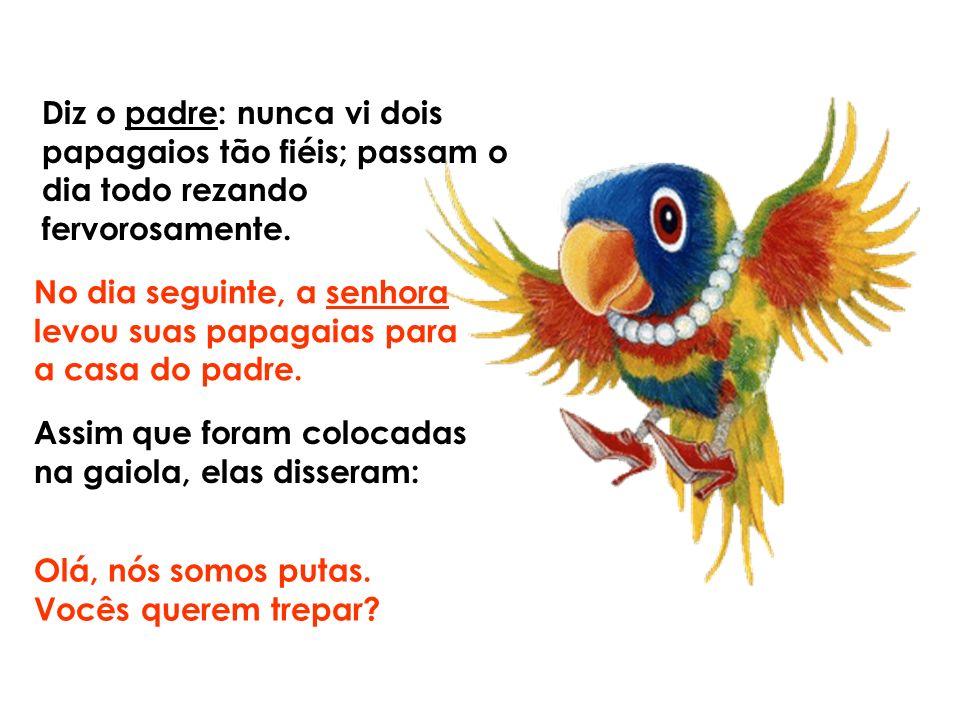 Eu sei, diz a Senhora, mas ganhei essas papagaias; elas pertenciam a um puteiro. Mas eu tenho uma solução para o seu problema diz o padre: Não sei mai