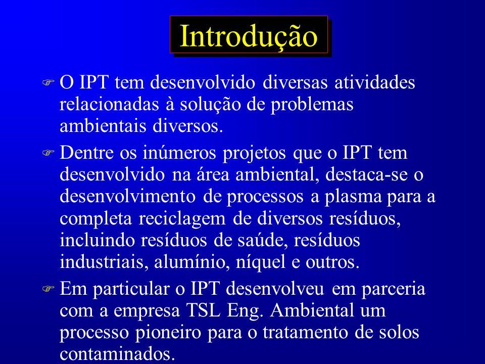 Introdução F O IPT tem desenvolvido diversas atividades relacionadas à solução de problemas ambientais diversos. F Dentre os inúmeros projetos que o I