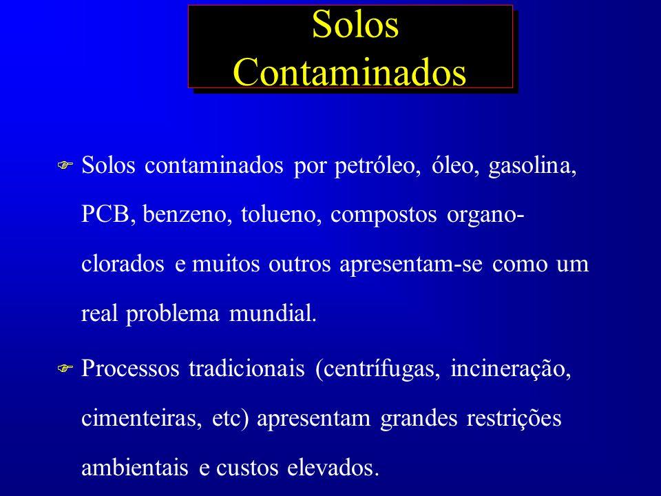 Solos Contaminados F Solos contaminados por petróleo, óleo, gasolina, PCB, benzeno, tolueno, compostos organo- clorados e muitos outros apresentam-se