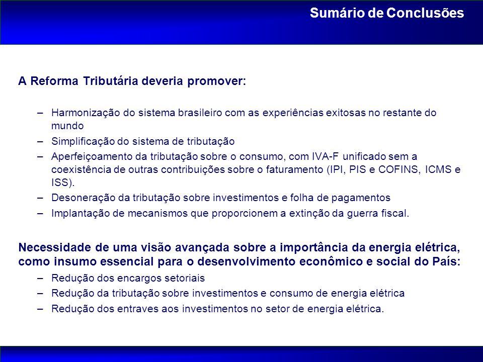 A Reforma Tributária deveria promover: –Harmonização do sistema brasileiro com as experiências exitosas no restante do mundo –Simplificação do sistema