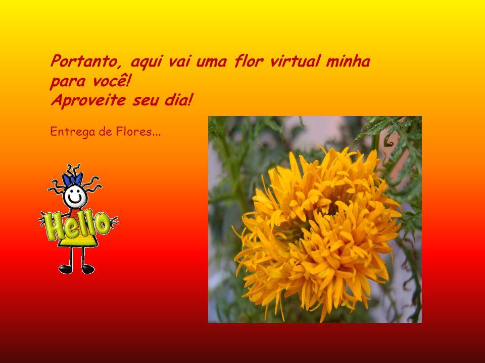 Portanto, aqui vai uma flor virtual minha para você! Aproveite seu dia! Entrega de Flores...