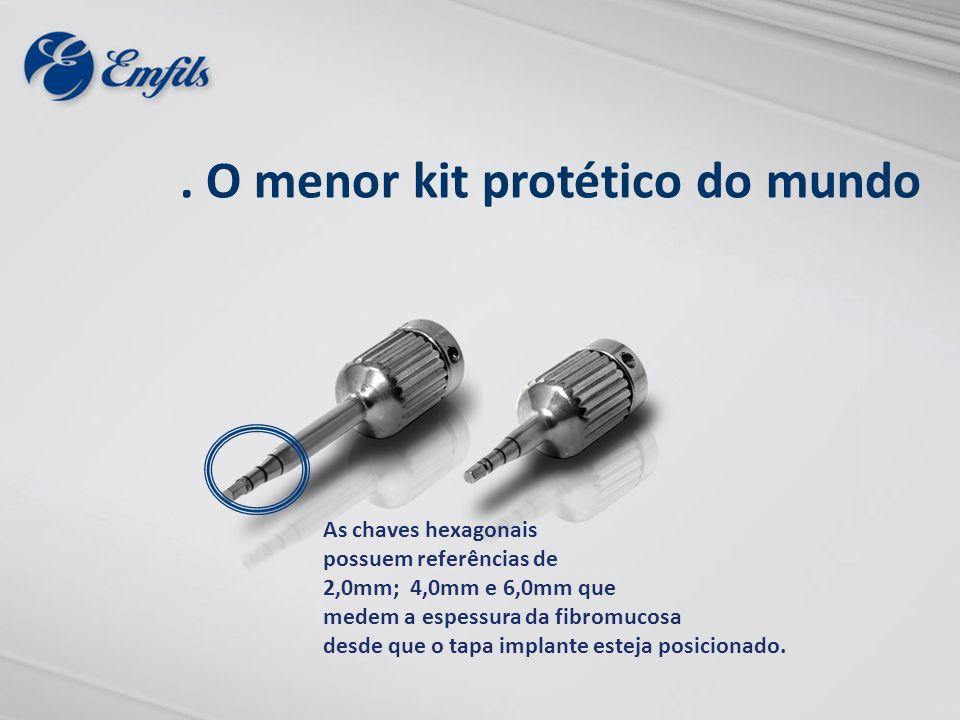 . O menor kit protético do mundo As chaves hexagonais possuem referências de 2,0mm; 4,0mm e 6,0mm que medem a espessura da fibromucosa desde que o tap