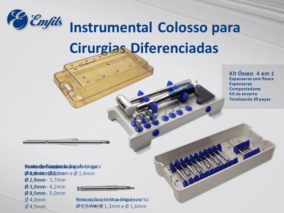Kit Ósseo 4 em 1 Expansores com Rosca Expansores Compactadores Kit de enxerto Totalizando 39 peças Instrumental Colosso para Cirurgias Diferenciadas P