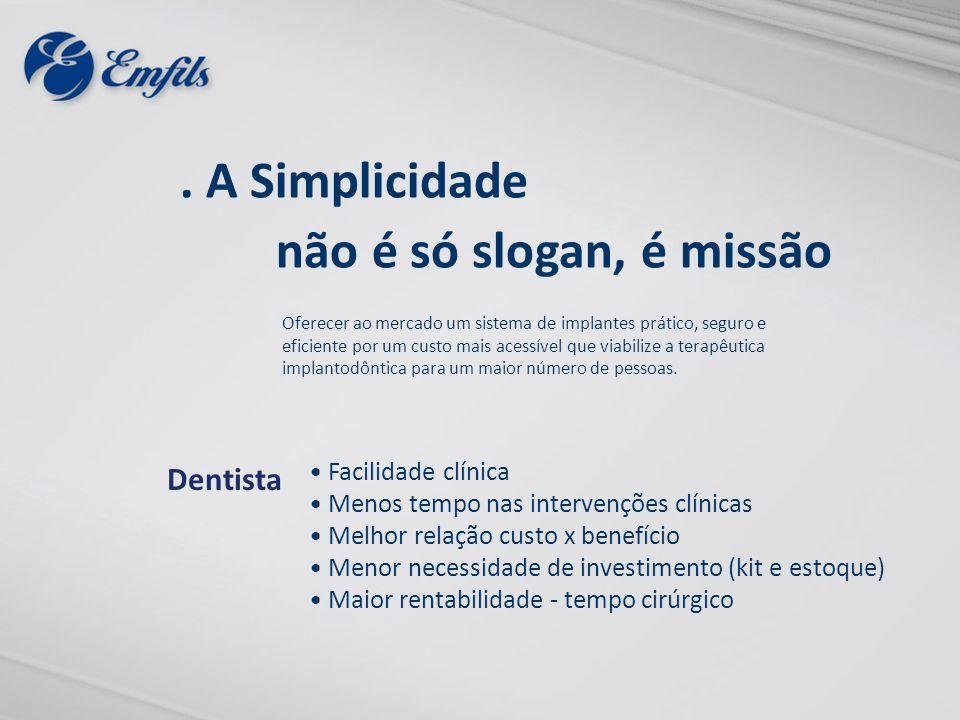 Facilidade clínica Menos tempo nas intervenções clínicas Melhor relação custo x benefício Menor necessidade de investimento (kit e estoque) Maior rent