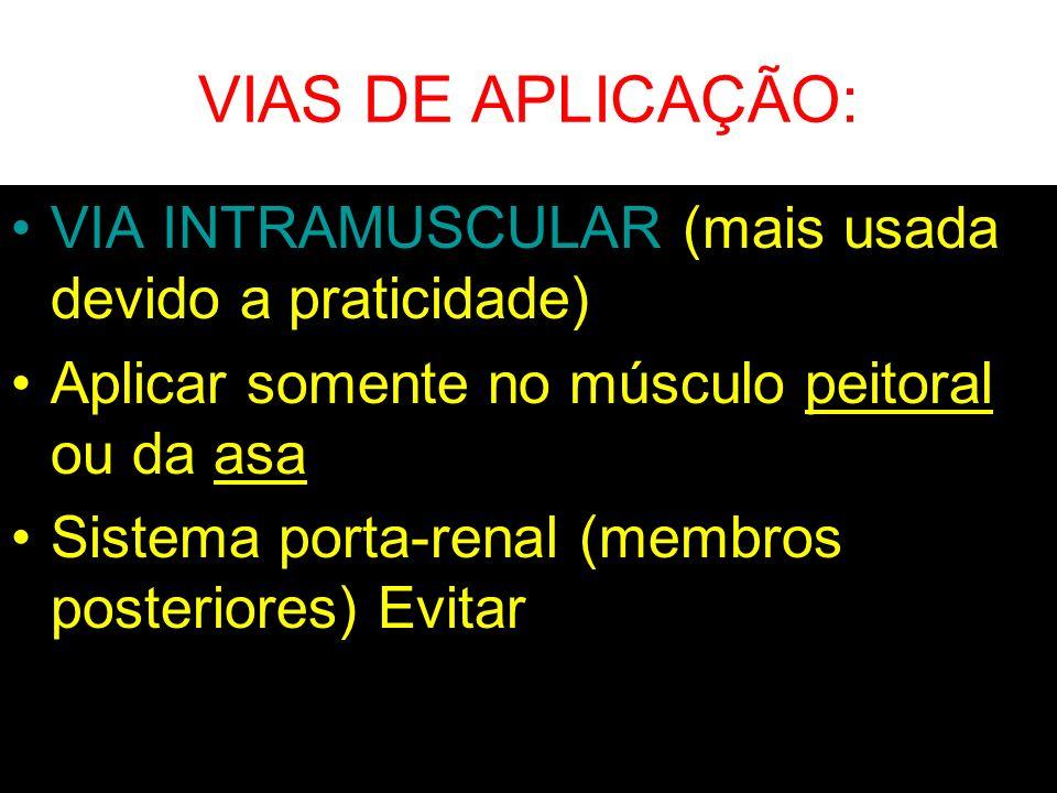 VIAS DE APLICAÇÃO: VIA INTRAMUSCULAR (mais usada devido a praticidade) Aplicar somente no músculo peitoral ou da asa Sistema porta-renal (membros post