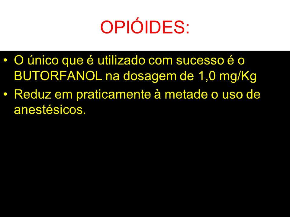 OPIÓIDES: O único que é utilizado com sucesso é o BUTORFANOL na dosagem de 1,0 mg/Kg Reduz em praticamente à metade o uso de anestésicos.