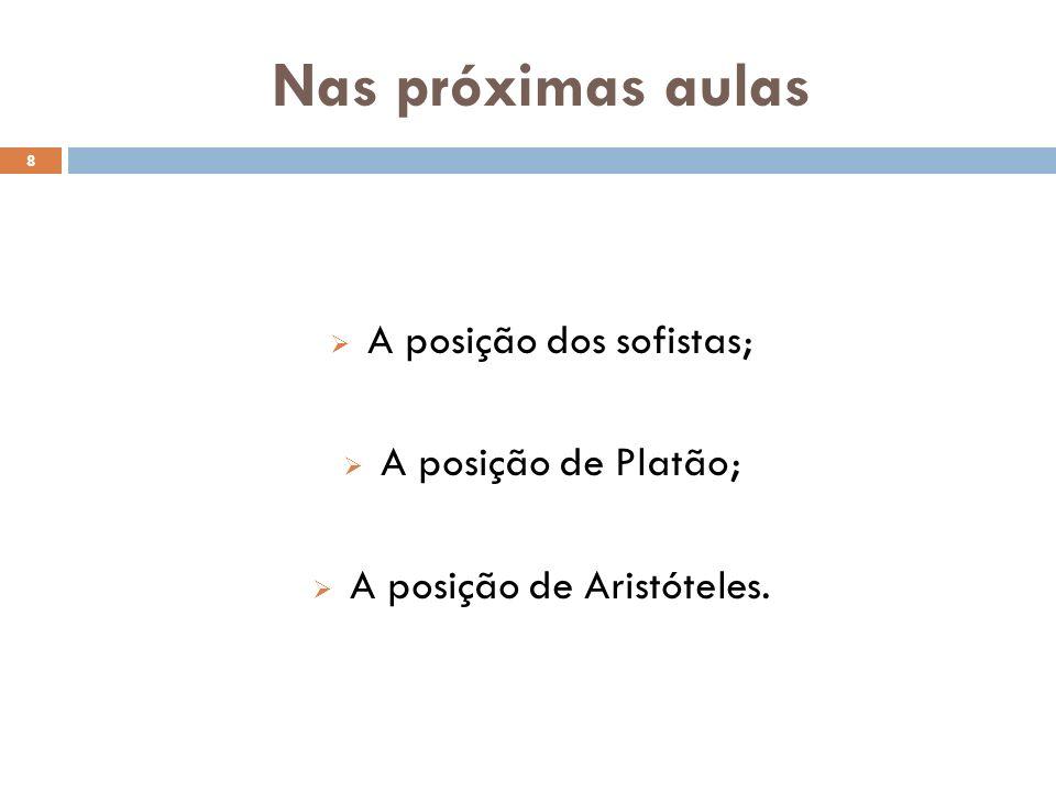 Nas próximas aulas A posição dos sofistas; A posição de Platão; A posição de Aristóteles. 8