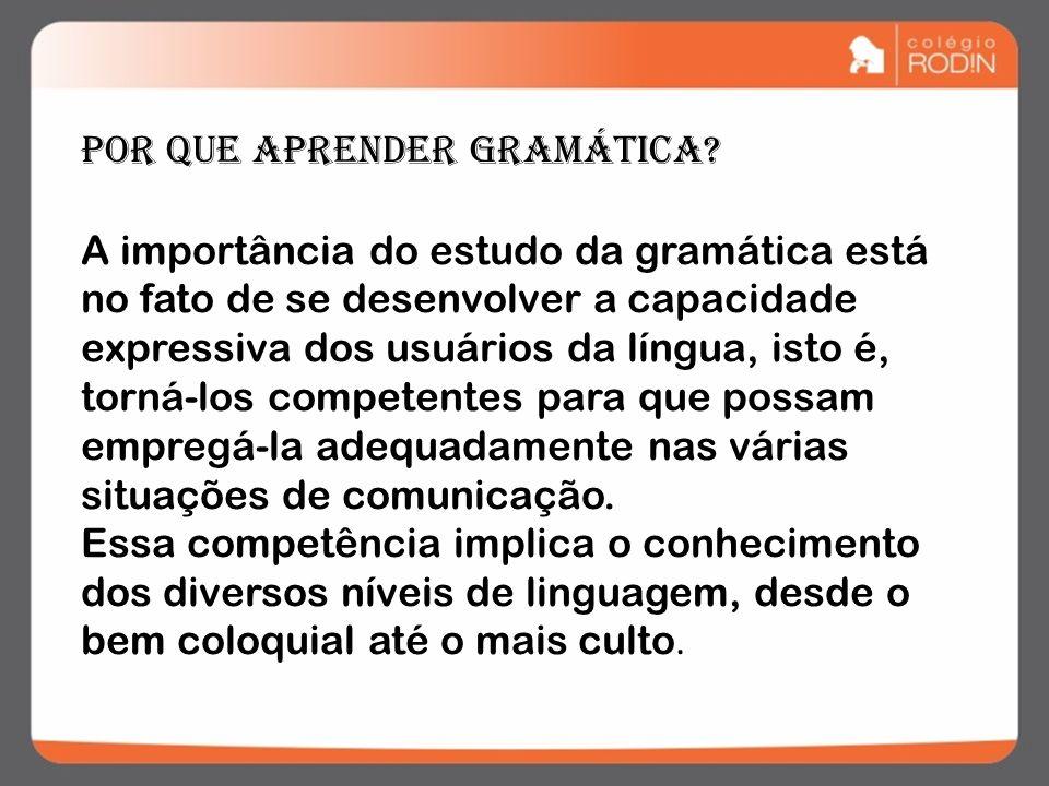 A importância do estudo da gramática está no fato de se desenvolver a capacidade expressiva dos usuários da língua, isto é, torná-los competentes para