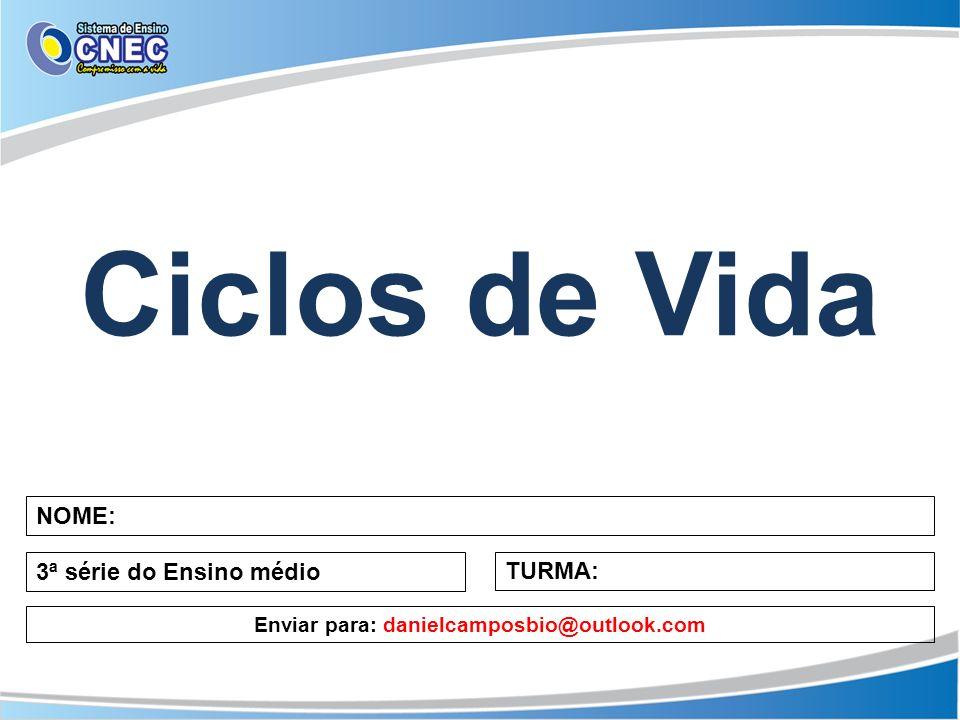Ciclos de Vida NOME: 3ª série do Ensino médio TURMA: Enviar para: danielcamposbio@outlook.com