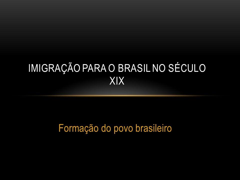 Formação do povo brasileiro IMIGRAÇÃO PARA O BRASIL NO SÉCULO XIX