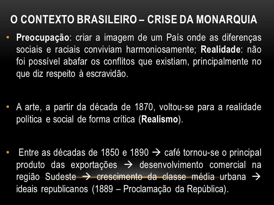 O CONTEXTO BRASILEIRO – CRISE DA MONARQUIA Preocupação : criar a imagem de um País onde as diferenças sociais e raciais conviviam harmoniosamente; Rea