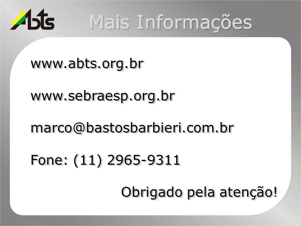 www.abts.org.br www.sebraesp.org.br marco@bastosbarbieri.com.br Fone: (11) 2965-9311 Obrigado pela atenção! www.abts.org.br www.sebraesp.org.br marco@