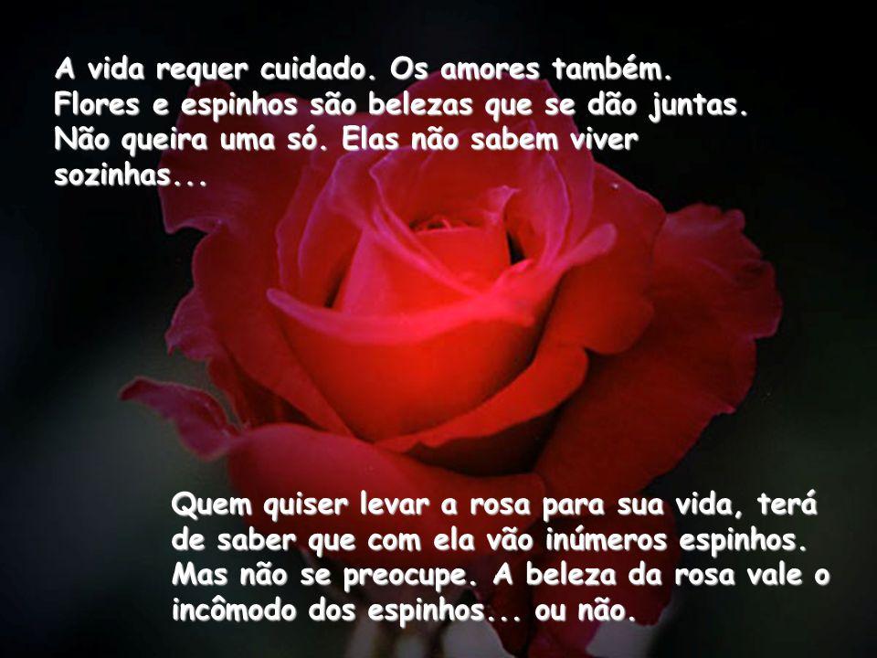 A vida requer cuidado. Os amores também. Flores e espinhos são belezas que se dão juntas. Não queira uma só. Elas não sabem viver sozinhas... Quem qui