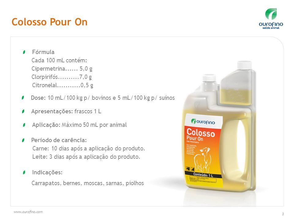 www.ourofino.com 3 Fórmula Cada 100 mL contém: Cipermetrina...... 5,0 g Clorpirifós..........7,0 g Citronelal...........0,5 g Dose: 10 mL/100 kg p/ bo