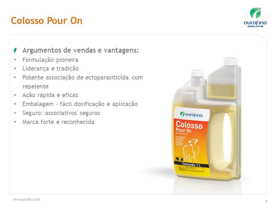 www.ourofino.com 5 Argumentos de vendas e vantagens: Formulação pioneira Liderança e tradição Potente associação de ectoparasiticida com repelente Açã